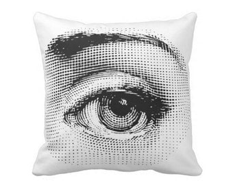 "Fornasetti Eye Throw Pillow, Modern Black and White Print 16 or 20"" Square OUTDOOR or INDOOR Pillows"