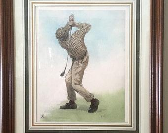 Vintage A. B. Frost Golf Print, Framed with Matt M785-1