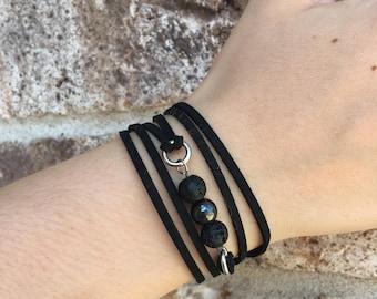 Lava Bead and Hematite Diffuser Bracelet | Vegan Friendly Faux Surde Wrap Bracelet | Essential Oil Aromatherapy Diffuser Bracelet