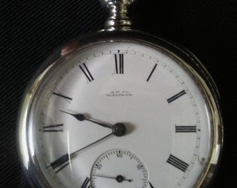 American Watch Co. Waltham Railroad Pocket Watch P.S. Bartlet Sterling Silver Coin Circa 1884 Adjusted 15 Jewel Key Wind Model 1877 AW&Co.
