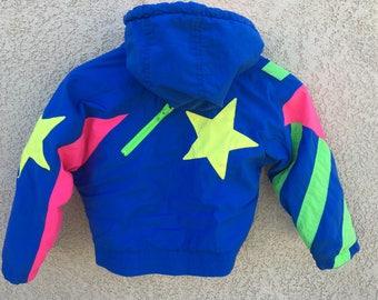 Vintage Child 4T Neon 80s 90s Jacket Windbreaker Coat Hipster