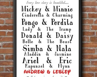 Personalised Disney Couples or Famous Couples Word Art Print Wedding Anniversary Valentines Gift Keepsake A4 21x30cm