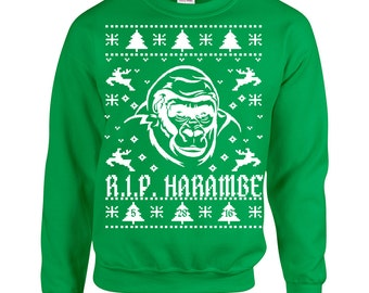 Rest in Peace Harambe Ugly Christmas Sweater Men's Sweatshirt 1551