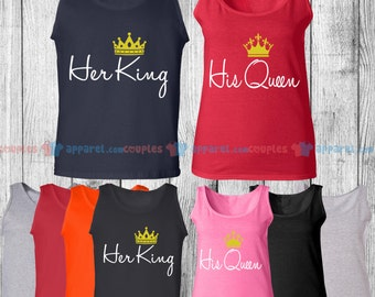 His Queen & Her King - Matching Couple Tank Top - His and Her Tank Tops - Love Tank Tops