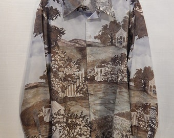 70's Vintage Men's Dress Shirt with Mickey Mouse and 30's Sceen
