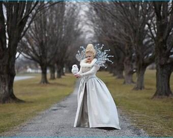 Winter queen Elizabethan style dress, Renaissance gown, Snow Queen costume, fantasy ball gown