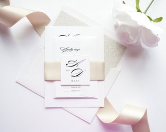 Neutral Wedding Invitation, Fancy Wedding Invitations, Glitter, Modern Calligraphy Wedding Invitations, Elegant Script - SAMPLE SET