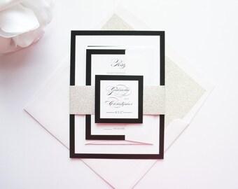 Glamorous Wedding Invitations, Glitter Wedding Invitations, Elegant Wedding Invitation, Calligraphy, Black and White Wedding - SAMPLE SET