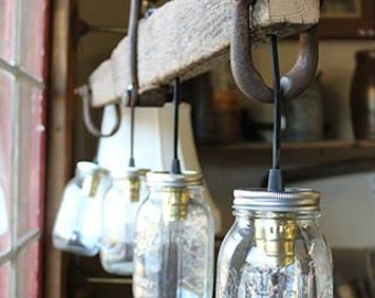 Rustic Handmade 3 Bulb Hanging Light Fixture or Lamp with Ball Canning Jars & Horse Single Tree 2y
