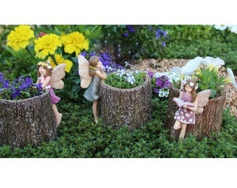 Fairy Stump Planters - Set of 3