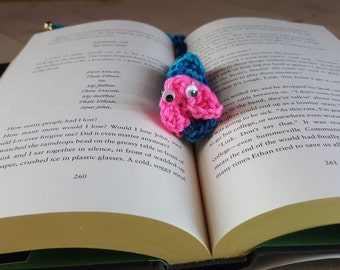 "Blue and Pink book mark ""bookworm"""