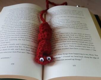 """Dark red book mark """"bookworm"""""""