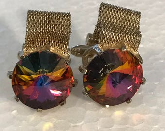 Stunning Vintage Giant Watermelon Stone Gold Mesh Men's Cufflinks