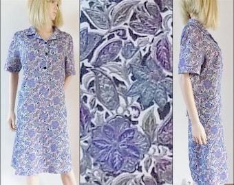 Purple white blue shirt dress stretchy cute short sleeve large