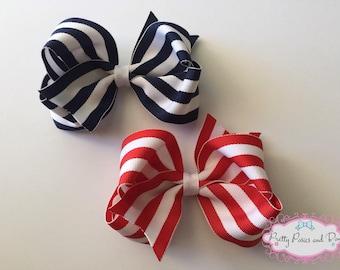 Navy Hair Bow, Red Hair Bow, Navy and White Hair Bow, Red and White Hair Bow, Navy Bow, Red Bow, Striped Hair Bow, Stripe Bow