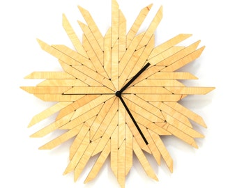 Haystack natural - organic wall clock made of wood