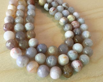 Cream and Brown Mixed Agate Beads 10mm