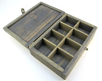 Made to Order: Salvaged Wood Box with 8 Sections, Grey Stained Wooden Jewelry Box, Rock Crystal Divided Storage Box, Small Unique Gift Box