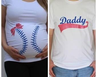 Baseball or Bows Gender Reveal Maternity Shirt and Daddy Tshirt Set, Baseball maternity shirt, funny maternity, team pink or blue