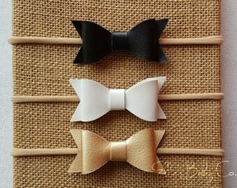 Baby Headband/ Leather Bow Headband/ Baby Headband Set/ Bow Headbands/ Leather Baby Bows/ Leather Bows/ Baby Headbands/ Baby Bows/ Newborn