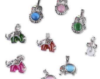 DIY Colorful Diamond Silver Elephant Pendant-WEN44967221118-GVN