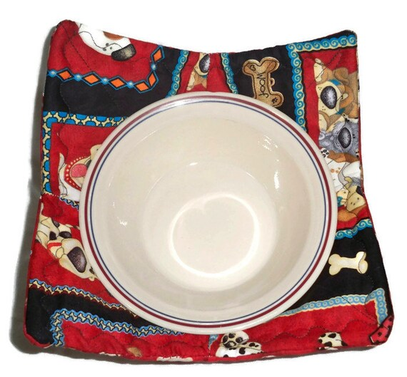 Bowl Pot Holder: Microwave Insulated Bowl Pot Holder Or Bowl Cozy In Red And