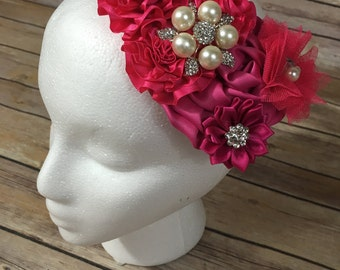Hot pink over the top flower headband