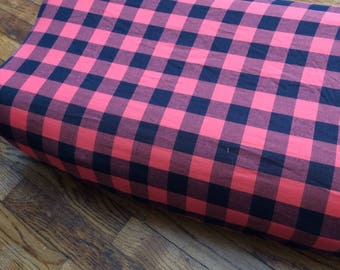 Red and Black Buffalo Plaid Changing Pad Cover