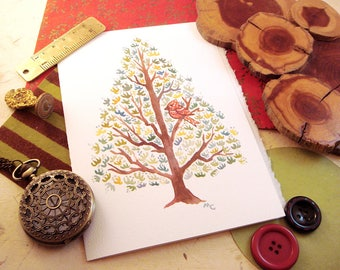 Watercolor Pine Tree Print Greeting Card