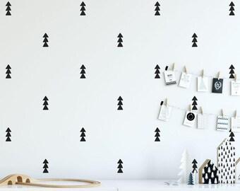 Tree Decals - Triangle Decals, Tree Wall Decals, Cute Tiny Tree Wall Stickers, Woodland Nursery Decal, Nursery Wall Decals, Minimalist Decor