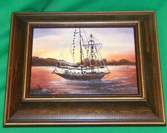 Yacht at Sunset signed and Framed Original Oil Painting (NOT A PRINT) Beautiful Colors Ready to hang Vintage Find, LOW & Fast Shipping