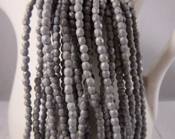 POPPY SEEDS 2mm Firepolish Pacifica Poppy Seed Czech Glass Faceted Rounds - Grey Gray Suede Beads - Qty 50 (2-093)