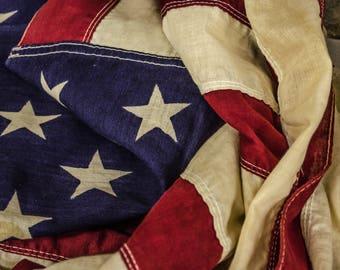 Vintage America Flag Print