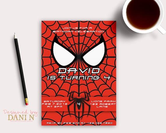 Spiderman birthday invitation superheroes spider man party il570xn stopboris Images