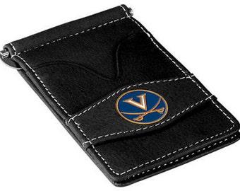 Virginia Cavaliers Black Leather Wallet Card Holder