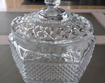 Mid Century Anchor Hocking Wexford Cookie Jar with Lid Diamond Cut Clear Glass