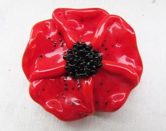 Red poppy, red with black lampwork bead by Inna Kirkevich, handmade artisan glass beads, beads for jewelry