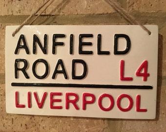 LIVERPOOL-Anfield Road-Football Sign-London Street Sign-Football Gift-Football Fan-Christmas Gift-