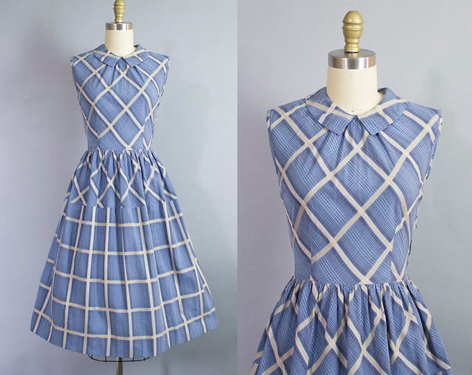 1950s geometric print day dress/ 50s cotton plaid dress w/ open back/ small
