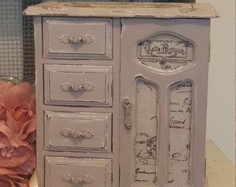 Paris Grey Vintage Hand Painted Wooden Wardrobe Jewellery Armoire/Box.