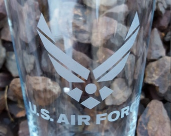 Air Forced Etched Pint Glass Custom Military
