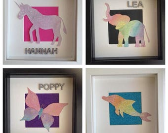 Personalised animal watercolour frame