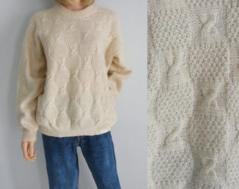 Cream wool sweater jumper pullover, long sleeve, crew neck, oversize baggy handknitted French vintage pullover, X large