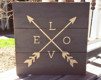 LOVE with Arrows Wood Sign | Cream on Grey | Rustic Wood Sign