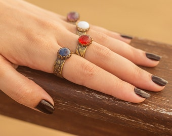 Ethnic ring in brass and Sodalite