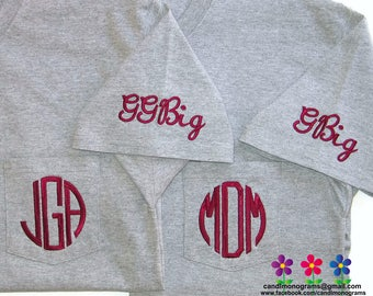 Embroidered Big Little Sorority Shirt Short Sleeve Monogram Pocket T-Shirt Unisex ~ Lots of Colors ~ Custom ~ Family GBig GGBig Twin etc