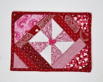 Red White, Quilted Mug Rug, Handmade  Fabric Mug Rug,  Coffee Lover Gift, Hostess Gift, Kitchen Table Decor