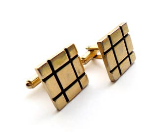Vintage Square Cuff Links Geometric Tic Tac Toe Checker Board Gold Tone Brass Modern Wedding Groom Gift Father of Bride Prom Formal