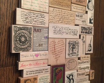 Large Lot of 41 Miscellaneous Word Sayings Quotes  Rubber Stamps Serendipity Lot