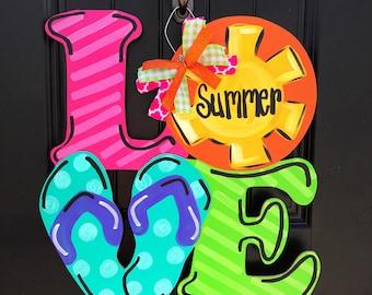 Summer Door Hanger- Love Door Hanger- Flip Flop Door Hanger- Summer Lovin Door Hanger- Summer Door Decor